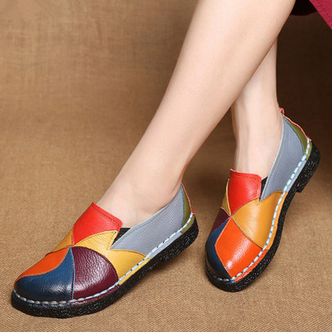 Genuine Leather Loafers Slip-On Mixed Color Moccasins Flat Shoes