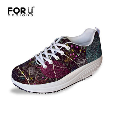Casual Floral Pattern Lace-up Flat Shoes