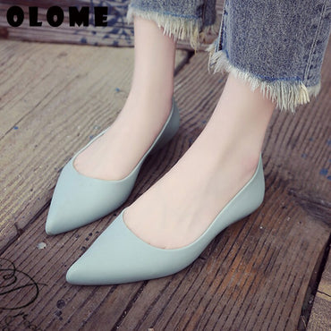 Flat Jelly Shoes Pointed Solid Color Casual Work Flats Shoes