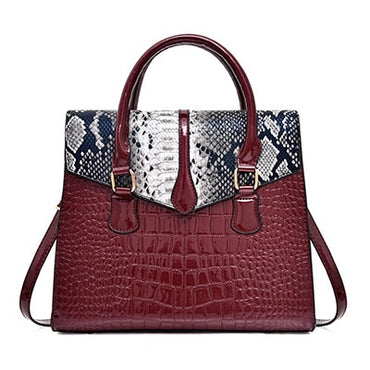 Snake Crocodile Print Pu Leather Tote Bag Handbags