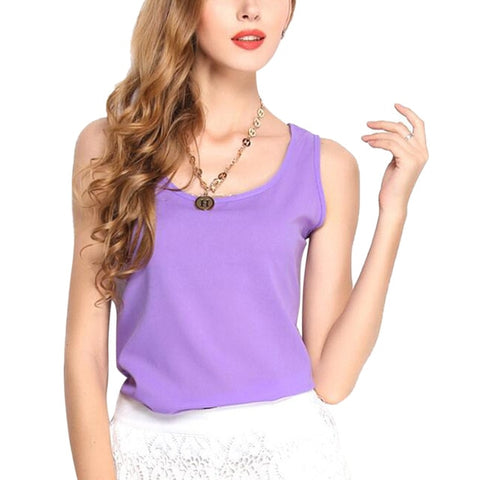 Tank Tops Casual Thin Light Basic T-Shirt Sleeveless Chiffon Vest top