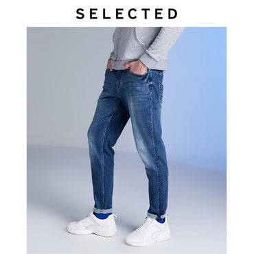 Stretch Contrasting Tapered Jeans