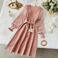 Cute Chiffon Patchwork Long-sleeved Knit Dress