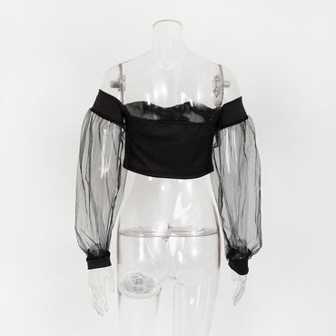 Mesh Bubble Sleeve Off Shoulder Sexy Blouse Crop Tops