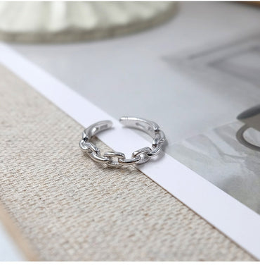 Minimalist Link Chain Silver Rings