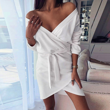 Solid Color Deep V Neck Dress