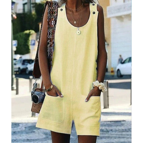 Loose Casual Sleeveless  Overall Jumpsuit Rompers