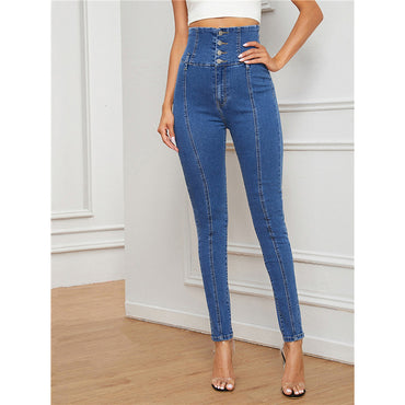 Blue Casual Wide Waist Skinny Jeans
