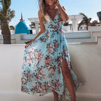 Chiffon  Sexy Deep V-neck Floral Print Party Dress Elegant Sleeveless Split Long Dress