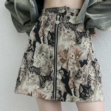 Cat Pattern Skirts Korean High Waist A-Line  Vintage Cartoon Skirt