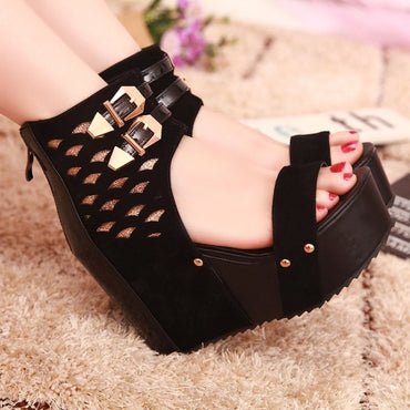 Flock Metal Decoration Open toe zipper Mixed Colors Wedge High heel sandals
