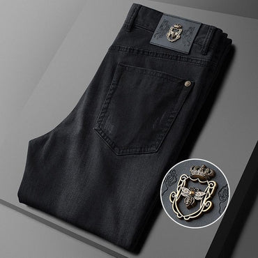 Solid Color Simple Denim  Pants Fashion Bee Metal Design Slim Fit Jeans