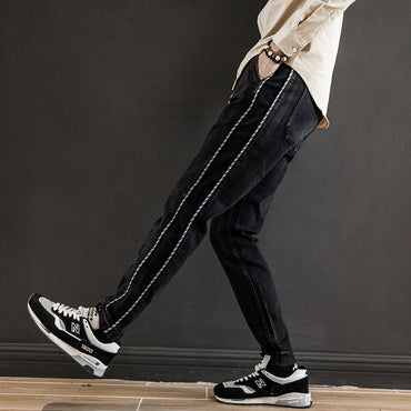 loose wild straight stripes solid color jeans