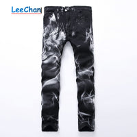 wolf printed slim straight Black stretch jean