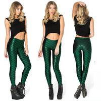 gilded print mermaid scales thin section was thin bottoming nine points sports leggings