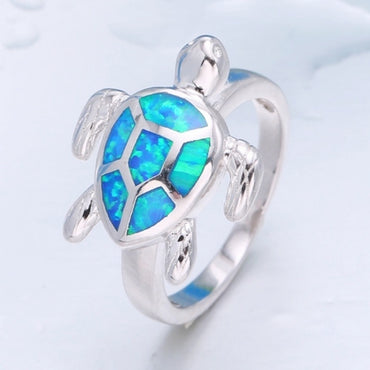 Cute Turtle Imitation Blue Fire Opal Animal Ring