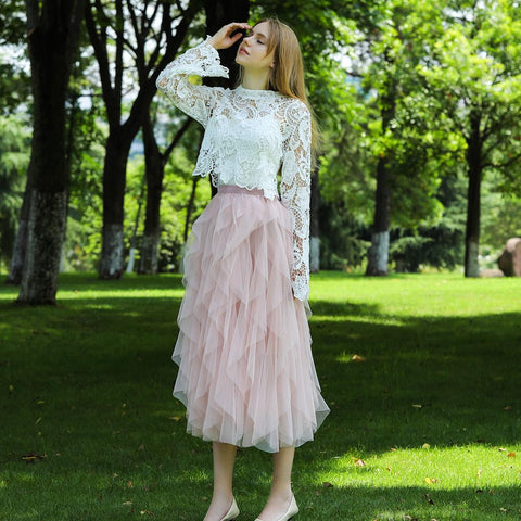Tulle Skirt High Waist Ruffles Beach Skirts