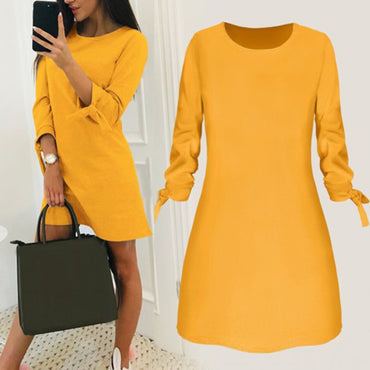 Long Sleeve Simple Casual Solid Loose Mini Dress