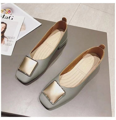Ballerina Square Toe Shallow Buckle Flat Shoes