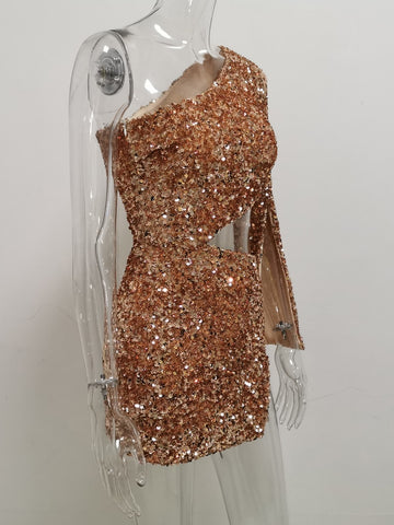 Sexy One Shoulder Sequin Dress