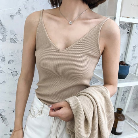 Sexy Knitted Top Crop Sleeveless Cropped Blusas Vest Tank Top