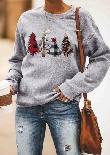 Christmas Sweatshirt Santa Tree Printed Long Sleeve Tops Pullover Casual Crew Neck Loose Sweatshirts Hoodies
