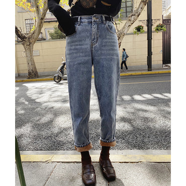 Warm Thick Jeans Casual High Waist Zipper Cotton Long Jeans