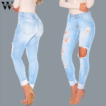 High Waist Skinny Slim Denim Pants With Hole Button Blue Jeans