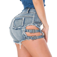 Ripped Hollow Out Denim Shorts