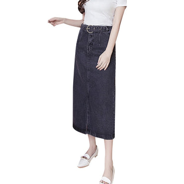Vintage Casual Long Denim Skirt