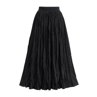 Long Skirts Elastic Waist Pleated Skirts