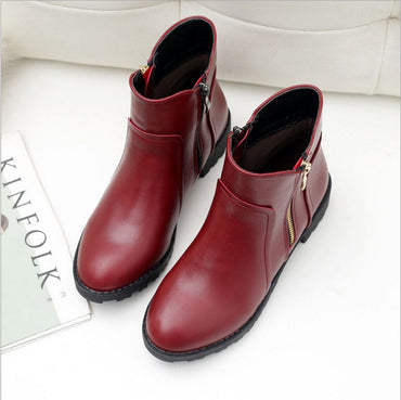 Leather Warm ankle Boots