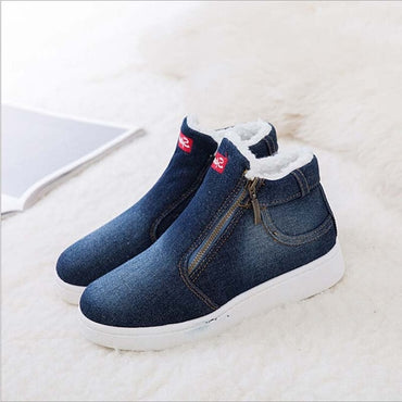 Denim Cotton Platform Boots