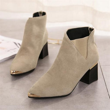Back zipper Platform Ankle boots