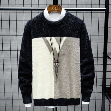 O-Neck Patchwork Slim Fit Knittwear  Sweaters
