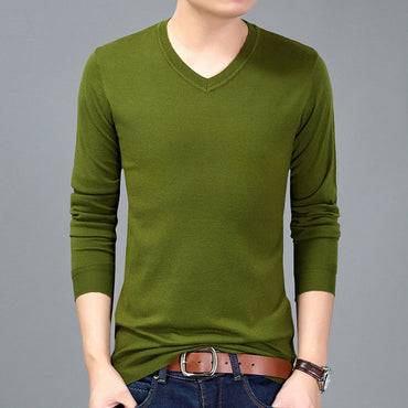 korean style thin solid pull sweater