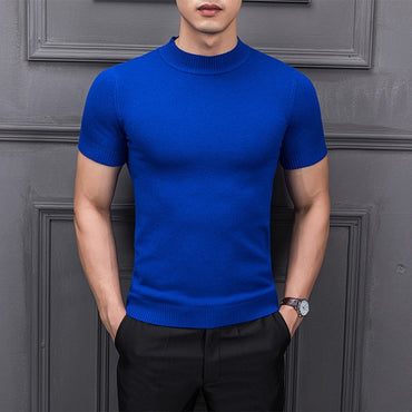 Half Turtleneck Short Sleeve Pullover Sweater