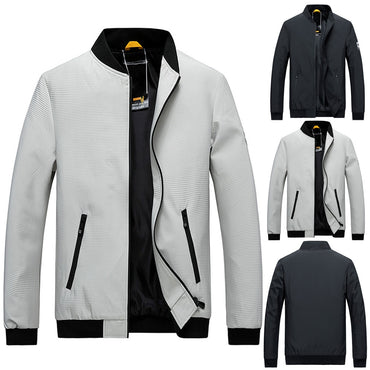 Casual Pure Color Stand Collar Zipper Outdoor Sport Jackets & Coats