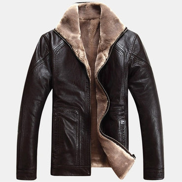 Thick Sheep Leather Garment Casual flocking Leather Jackets & Coats