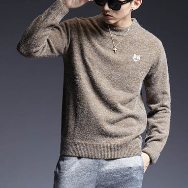 Pullover O-Neck Slim Fit Jumpers Knitred Patch Work Sweaters