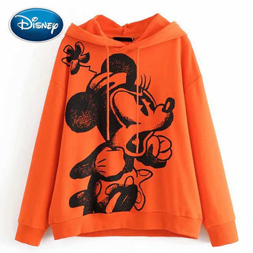 Disney Stylish Mickey Mouse Cartoon Floral Print O-Neck Hoodies