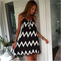 Black And White Wavy Striped Mini Dress