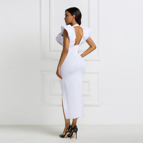 Deep V Neck High Waist Slit Bodycon Ruffles Backless Event Dress