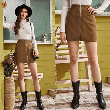 Mini Slim Skirt Casual High Waist Zipper Bodycon Skirts