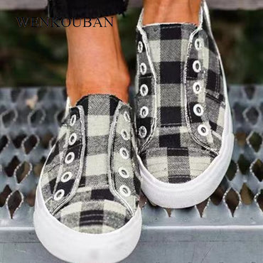 Vulcanized Shoes Casual Slip On Flats Basket Flats Shoes