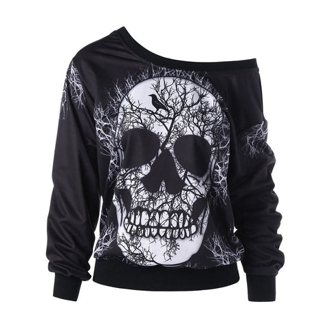 Long Sleeve Skew Neck Skull Print Halloween Sweatshirt Blouse Hoodies