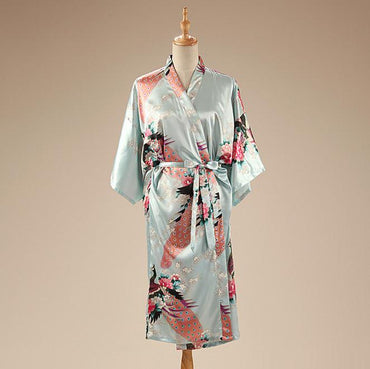 Robe Chinese Style Nightgown Print Kimono Yukata Bath Gown Flower Sleepwear