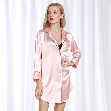 Silk Pajama Long Sleeve Sleep Shirts Sleepwear