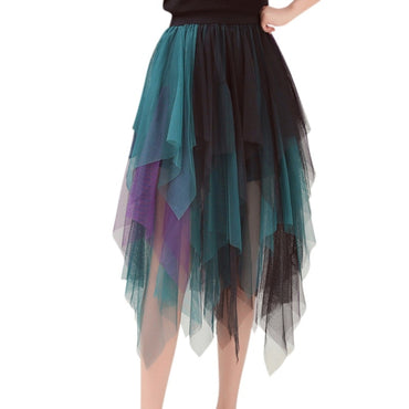 Elastic High Waist Long Hit Color Tulle Skirt