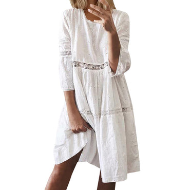 3/4 Sleeve Hollow Out Boho White Dresses